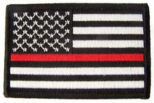 "THIN RED LINE BLACK & WHITE AMERICAN FLAG ARM PATCH P5112 jacket 3"" BIKER new"