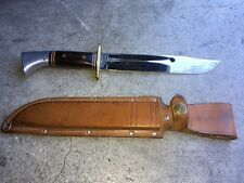 VINTAGE WESTERN U.S.A W46-8 ROSEWOOD HANDLE HUNTING KNIFE with LEATHER SHEATH
