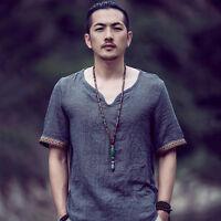 Men Linen Ethnic Short Sleeve T-shirt China Style Casual Vintage V Neck Slim Tee