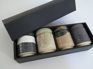 "Set of 4 Japanese 3.25""H Tea Cups Yunomi Ceramic ROKUBEI /Made in Japan"