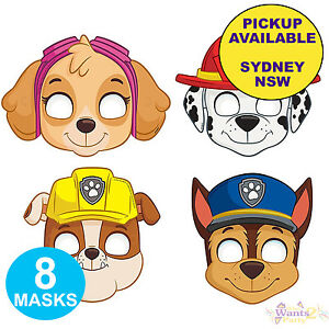 PAW PATROL PARTY SUPPLIES 8 FACE MASKS BIRTHDAY LOOT BAG FAVOURS SKYE MARSHALL