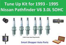 Spark Plugs Oil Filter Air Filter PCV Valve Fit for 1993 -1995 Nissan Pathfinder