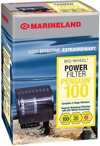 MarineLand Power Filter Penguin 100 GPH BIO-Wheel 3 Stage Filtration10-20 Gal