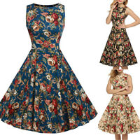 Women's 1950s 50s Vintage Rockabilly Swing Dress 60s Retro Floral Cocktail Party