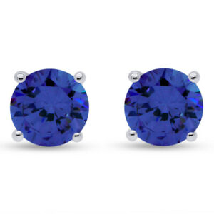 1 Ct Round Cut Simulated Tanzanite Stud Earrings In 10k Solid Gold