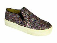 New Women Ladies Slip On Glitter Shoe Flat Trainers Zip Shoes Size UK 3-8