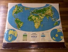 VTG Large School Crams Physical Political Map Of The World Pull Down Mid Century