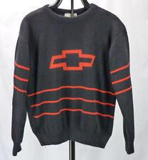 Vtg 70s 80s Chevrolet Chevy Bowtie Logo Acrylic MEns Sweater L Black/Red Stripes