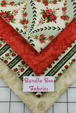 Fat Quarter bundle lot of (4) new Beautiful Red & Green Floral 100% cotton