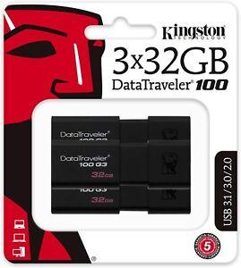 Kingston DT100G3 32GB DataTraveler - 3 Pack - 3 x 32GB