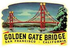 San Francisco Golden Gate Bridge  Vintage Looking  Travel Decal  Sticker Label