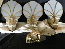 Ultimate 4 Wall Sconces Original Silver Plated Slag Glass Art Deco c1920-1930's