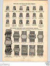 1896 PAPER AD Gold Silver Thimbles Silk Webbing Garter Garters