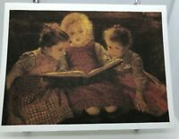 vintage postcard a good book walter firle 6x5 in unused german 183