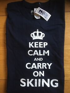 Size 2XL Blue, Keep Calm And Carry On Skiing T-Shirt By Mad Tees & Tops