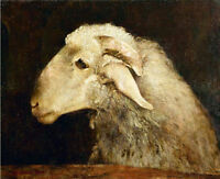 Dream-art Oil painting Docile animals sheep goat handpainted in oil on canvas