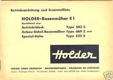 Ersatzteilliste Betriebsanleitung Holder Rasenmäher E1  Antriebsblock Typ 503/2