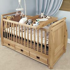 Felix childrens bedroom furniture oak baby cot bed and changer