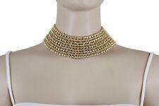 Women Fashion Gold Metal Chain Wide Band Bib Choker Short Necklace Stud Earrings
