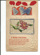 A MERRY CHRISTMAS WITH EMBOSSED DESIGN AND EMBROIDERED ADD ON HOLLY 1918