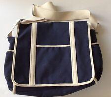 Lands End Navy Blue Diaper Bag Messenger Canvas Sailboat Blue Boy
