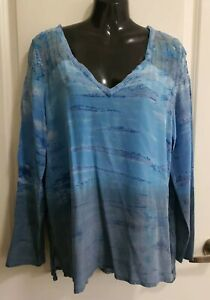 GYPSY 05 100% SILK Dual Textured Embroidered L/S Blouse in Tie-Dyed Sky, S/8-12