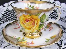 Royal Albert Yellow Roses Heavy Sponged Gold Tea Cup And Saucer