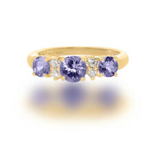 Natural Tanzanite Three stones and Diamond Engagement  Ring In 14k White Gold