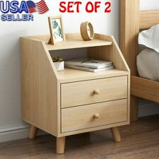 Set Of 2 Assemble Storage Cabinet Bedroom Bedside Locker Double Drawer Table HU