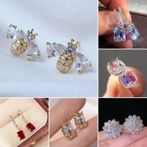 925 Silver Women Cubic Zircon Dangle Earrings Crystal Drop Earrings Jewelry Gift