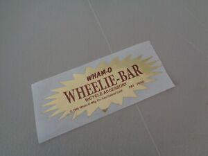 Whamo Wheelie Bar Sticker 1960's  Bicycle Accessory for Schwinn Stingray-Bike