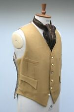 Original Vintage 1950s Mustard Doe Skin Wool 4 Pocket Waistcoat Fleece Lined 40R