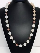 Vintage Pink White And Gold Bead Necklace Opaque And Clear Facetted Beads