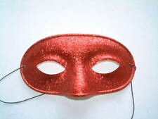 MASQUERADE MENS COLORED GLITTER PARTY EYE MASKS RED GOLD SILVER RED - NEW