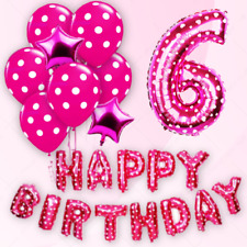 HAPPY BIRTHDAY THEME FOIL BALLOONS GIRLS PINK THEME SELF INFLATING PARTY BALOONS