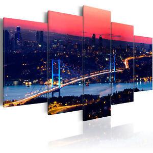 SKYLINE ISTANBUL BOSPHORUS STADT Wandbilder xxl Bilder Vlies Leinwand 030224-1