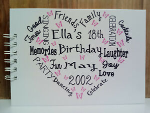 A5 PERSONALISED BIRTHDAY 18th 21st 30th 40th 50th 60th Photo Album guest book