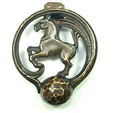 ART DECO HORSE DOOR KNOCKER Equestrian Bronco Ranch Whip Brass Antique Vtg