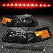 BLACK AMBER CORNER HEADLIGHT+SMOKED LED 3RD BRAKE LIGHT FOR 99-04 FORD MUSTANG