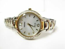 Seiko Womens Two-Tone Diamond-Accented Mother-of-Pearl Dial Solar Watch - SUP256