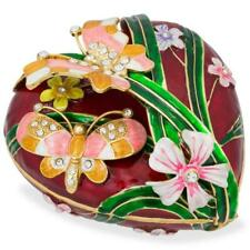 Heart with Butterflies and Flowers Jewelry Box