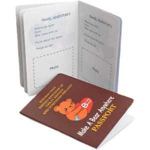 Teddy Bear or Stuffed Animal UK Passport - Great Toy and Gift for Travelling Ted