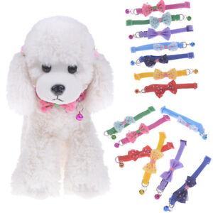 Dog Cat Pet Bowknot Cute Bow Tie Bell Adjustable Puppy Kitten Necktie Collar Y1