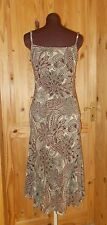 PER UNA olive green brown beige floral chiffon summer holiday dress 12R 40 M&S