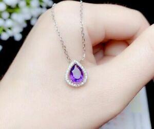 2Ct Pear Cut Amethyst Diamond Halo Womens Pendant 14K White Gold Over Free Chain