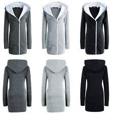 UK Womens Hoodie Jacket Long Zipper Outwear Sweater Winter Parka Overcoat Girls