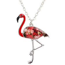 BONSNY Flamingo Jewellery Animal Charm Pendant Enamel Necklace Children Women