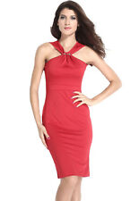 Halter Neck Solid Red Midi Bodycon Evening Dress Large