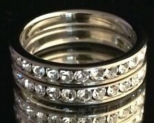 DESIGNER Silver Ring 2 Stackable Bands Simulated Diamond Premier Quality Sz 9