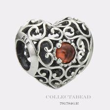 Authentic Pandora Sterling Silver January Signature Heart Garnet Bead 791784GR